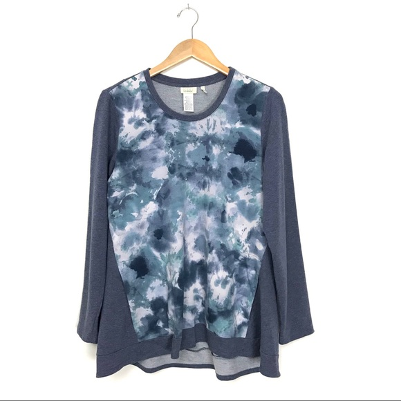 LOGO Lori Goldstein Tie Dye Tunic Top Blue L A2